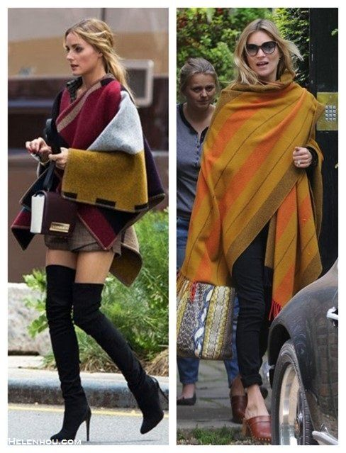 Kate-Moss-Olivia-Palermo-street-style-hermes-blanket-burberry-poncho-python-tote-brown-clog-skinny-jeans-black-over-the-knee-boots-plaid-shirt